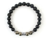 Leo zodiac bracelet with lava, pyrite and matte onyx beads