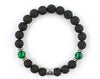 Libra zodiac sign bracelet with black lava and malachite beads