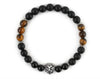 Lion bracelet with black onyx and tiger eye beads