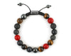 Luxury Men's bracelet with cubic zirconia, coral, tiger eye and matte onyx beads