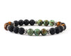 Men' bracelet with volcanic lava, african turquoise and tiger eye beads