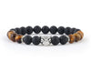 Men's black panther bracelet with tiger eye beads