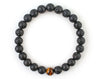 Men's bracelet with black lava beads