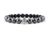 Men's bracelet with helmet and hematite beads
