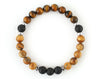 Men's bracelet with jasper and volcanic rock beads