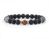 Men's bracelet with labradorite and volcanic rock beads