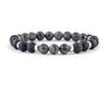 Men's bracelet with labradorite, lava and matte onyx beads