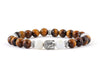 Men's Buddha bracelet with tiger eye and shell beads