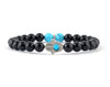 Men's hamsa bracelet with blue turquoise and black onyx beads
