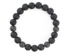 Men's lava bracelet with cubic zirconia beads