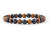 Men's matte bracelet with black onyx and tiger eye beads