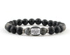 Men's monogramed bracelet with labradorite and matte onyx beads