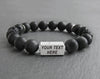 Mens name bracelet personalized with labradorite and black lava beads