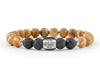 Men's engravable name bracelet with picture jasper and lava beads