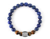 Men's personalized gifts bracelet with blue lapis lazuli beads