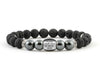Men's personalized bracelet with hematite and black volcanic stone beads