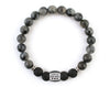 Men's personalized bracelet with labradorite and black lava beads