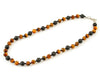 Men's tiger eye and black lava necklace