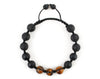 Men's woven bracelet with black lava and tiger beads
