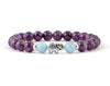 Natural amethyst and aquamarine bracelet with silver elephant bead for girl