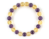 Natural citrine and purple amethyst bracelet