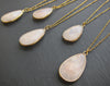 Natural Rose quartz crystal necklace