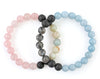 Couples bracelets with rose quartz, labradorite, aquamarine and black lava beads