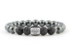 Personalized bracelet with hematite and black onyx beads for mens