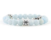 Pisces zodiac bracelet with aquamarine beads