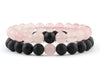 Rose quartz and black matte onyx couple bracelets