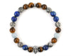 Skull bracelet with aquamarine, jasper, lapis lazuli and tiger eye beads