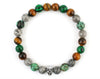 Skull bracelet with jasper, malachite and tiger eye beads