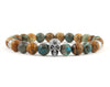 Skull bracelet with ocean agate, picture jasper and tiger eye beads