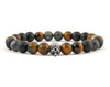 Skull bracelet with onyx, labradorite and tiger eye beads