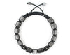 Small Flatbead Men's macrame bracelet with hematite and CZ beads