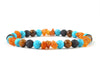 Surfer Men' bracelet with volcanic lava, amber and tiger eye beads