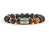 Custom engravable ID bracelet with tiger eye and volcano rock beads
