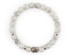Women White turquoise buddha bracelet with fancy jasper beads