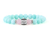 Women's custom bracelet with mint jade and rose quartz beads