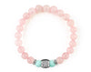 Women's engraved bracelet with mint jade and rose quartz beads