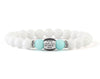 Women's personalised bracelet with white and mint jade beads