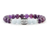 Women's personalized bracelet with amethyst and aquamarine beads