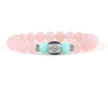 Women's personalized bracelet with rose quartz and mint jade beads