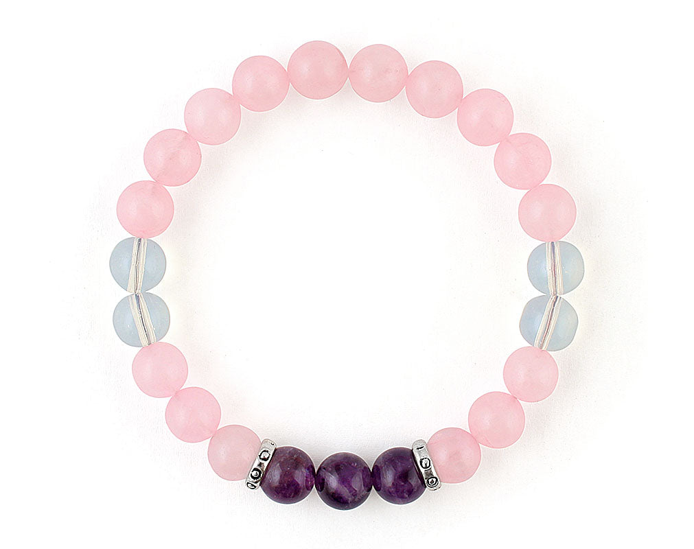 women's rose quartz bracelet with amethyst and opalite beads