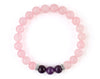 Women's rose quartz bracelet with amethyst beads