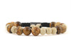Wood, jasper and tiger eye men bracelet