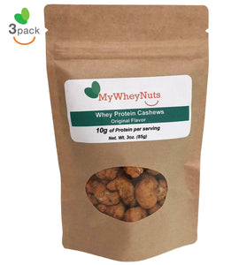 3 Pack of Original Flavor, Whey Protein Cashews 3oz Bags