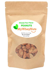Choose Your Flavor of Whey Protein Isolate Covered Peanuts, 4oz Bag