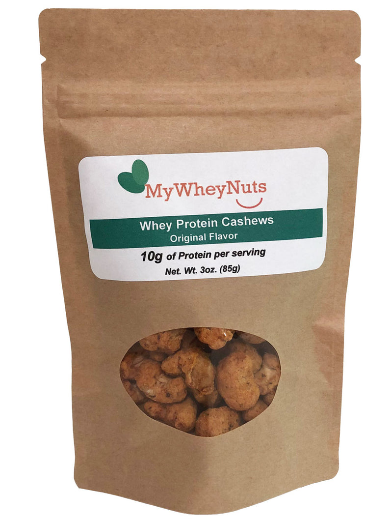 Original Flavor, Whey Protein Cashews 3oz Bag