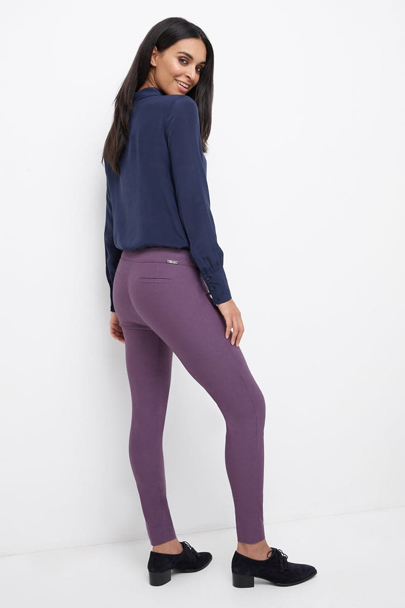 Slim ankle dress pants with snaps